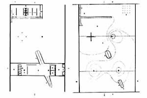 Pavilhão de Osaka, plantas nível térreo e sub-solo [MONTANER, Josep Ma. Mendes da Rocha. Lisboa, Blau, 1996. p. 32]