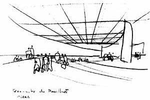 Croqui do Pavilhão [ARTIGAS, Rosa. Paulo Mendes da Rocha. São Paulo, Cosac & Naify, 2000. p. 78]