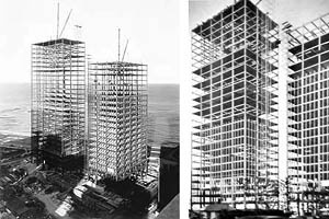 Photo 2 – Buildings on Lake Shore Drive (construction), Chicago, in the early 1950s. Architect Mies van der Rohe