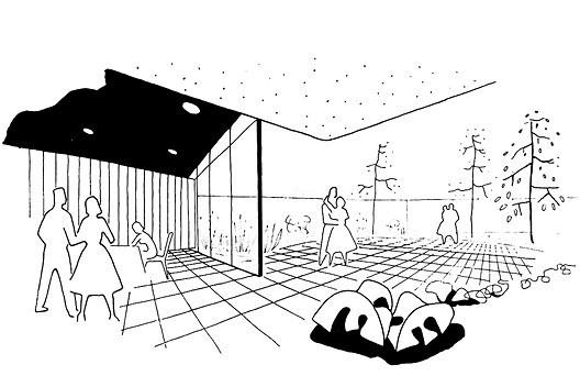Perspectiva interna do restaurante e jardins com pista de dança, publicado no portfólio de vendas da época [Arquivo pessoal do sr. Roberto Dias Leal]