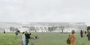 Museu Louvre-Lens. O átrio central se encaixará na entrada da antiga mina de carvão sobre a qual o museu será construído [www.louvrelens.fr]