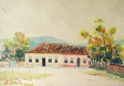 Paisagem rural, aquarela de Monteiro Lobato<br />Imagem divulgação  [website Monteiro Lobato]