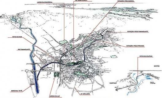 Operação Urbana Diagonal Sul. Posição e inserção macro-metropolitana<br />Imagem do arquivo de SEMPLA/PMSP