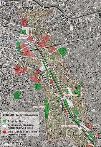 Operação Urbana Diagonal Sul. Perímetro e áreas prioritárias de reconversão urbana<br />Imagem do arquivo de SEMPLA/PMSP