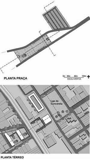 Operação Urbana Diagonal Sul. Plano-Referência de Intervenção e Ordenação Urbanística. Pólo transposição Concórdia: plantas nível térreo e inferior<br />Imagem do arquivo de SEMPLA/PMSP