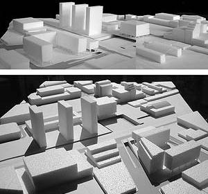 Operação Urbana Diagonal Sul. Plano-Referência de Intervenção e Ordenação Urbanística. Pólo transposição Concórdia: vistas da maquete<br />Imagem do arquivo de SEMPLA/PMSP