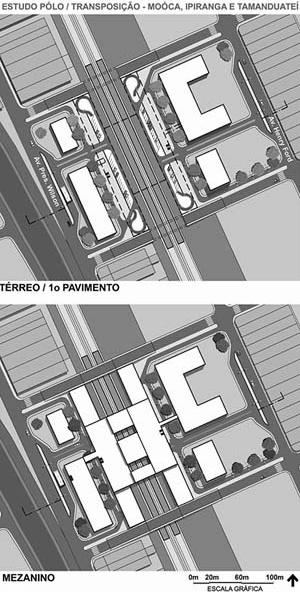 Operação Urbana Diagonal Sul. Plano-Referência de Intervenção e Ordenação Urbanística. Pólo estação/transposição: plantas térreo e superior<br />Imagem do arquivo de SEMPLA/PMSP