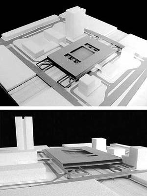 Operação Urbana Diagonal Sul. Plano-Referência de Intervenção e Ordenação Urbanística. Pólo estação/transposição: vistas da maquete<br />Imagem do arquivo de SEMPLA/PMSP