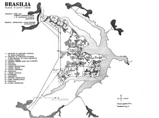 Plano Piloto de Brasília, 3.lugar no concurso, 1957. Arquitetos Rino Levi, Roberto Cerqueira César e Luiz Roberto Carvalho Franco<br />Imagem divulgação  [Acervo digital Rino Levi]