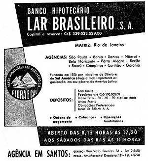 Material publicitário do BHLB, que assinala a presença de empreendimentos desse Banco em municípios, como Santos, no Estado de São Paulo [www.novomilenio.inf.br/santos/h0350a1957k.htm]