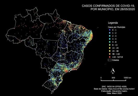 Mapa dos casos confirmados de Covid-19 no Brasil, por município, em 28 de maio de 2020<br />Elaboração Alexandre Augusto Bezerra da Cunha Castro