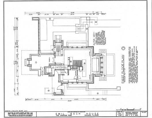 Emil Bach House, planta primeiro pavimento, North Sheridan Road, Chicago, Estados Unidos, 1915. Arquiteto Frank Lloyd Wright<br />Redesenho J. William Rudd, 1965  [Library of Congress / U.S. Government]
