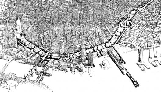 Figura 5 – Projeto conceitual de Ricardo Bofill para a faixa de domínio da via expressa, uma das diversas idéias do final dos anos 80 [In Process # 97, 1991]