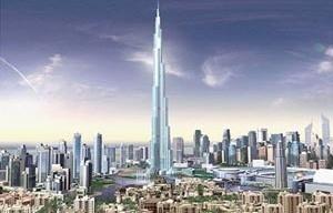 Burj Dubai. Esta torre fenomenal, cuja construção começou em janeiro de 2005 e que terminará no final de 2008, deverá atingir uma altura de 800 metros. O edifício, construído em três partes em torno de uma coluna central acaba em espiral. Terá 160 andares