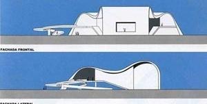 Fachadas lateral e frontal do teatro