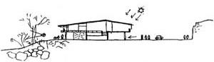 Croquis de Oscar Niemeyer para a Residência de Francisco Inácio Peixoto [L'Architecture d'aujourd'hui. Paris, n. 42-43, 1952, p. 83]