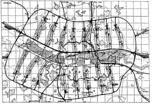 Plano de Londres, MARS, 1938. Plano geral. [BUSQUETS, Joan. Cities X Lines. Cambridge, Nicolodi Editore, Catálogo de exposição Harvard]