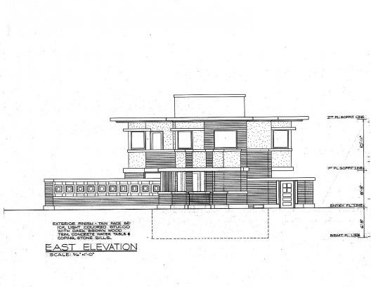 Emil Bach House, elevação leste, North Sheridan Road, Chicago, Estados Unidos, 1915. Arquiteto Frank Lloyd Wright<br />Redesenho J. William Rudd, 1965  [Library of Congress / U.S. Government]