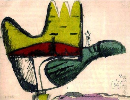 Le corbusier, A mão aberta, esboço de um monumento à mão, Chandigarh, India, 1954 [PALLASMAA, J. La mano que piensa. Barcelona: Ed. Gustavo Gili, 2012. pág.43]