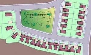 Figura 2. Reconstituição do plano geral de Borsoi para a Praça Fleming a partir das plantas originais. Desenho das autoras.