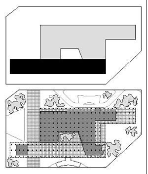 Sede da Prefeitura do Distrito Federal - implantação esquemática e planta do pavimento térreo
