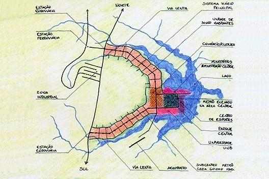 Plano Piloto de Brasília, concurso nacional, 1957. Arquiteto Joaquim Guedes e equipe [Revista Urbs nº 44]