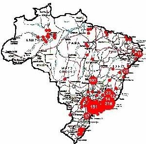 Figura 3 - Localização das obras brasileiras citadas no exterior