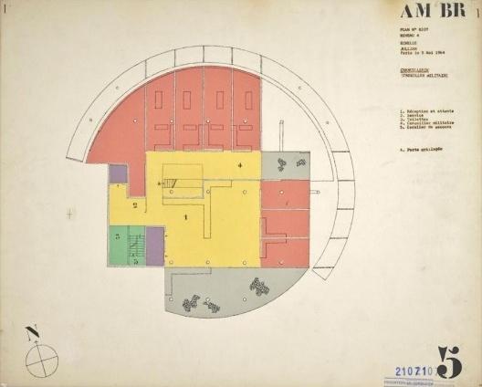 Embaixada da França, Chancelaria, planta quarto andar, Brasília, 1962-1964, arquiteto Le Corbusier<br />Imagem divulgação  [Fondation Le Corbusier]