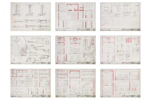 Exposição Território de Contato, Marcos Acayaba, painel com desenho executivo de residências (parte 3)<br />Painel de Estudio Campo