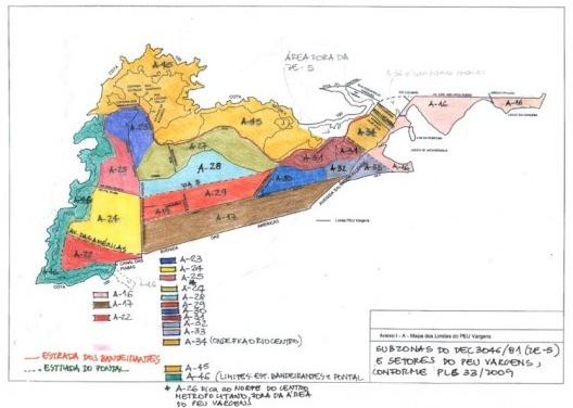 Mapa das subzonas<br />Elaborada pela autora