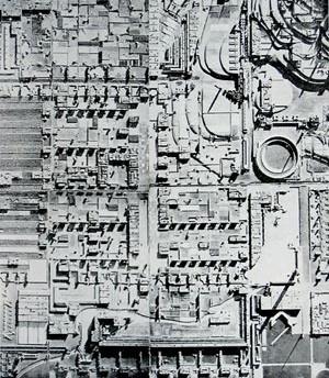 Broadacre City, detalhe da maquete exposta, em 1935, no Rockfeller Center de Nova Iorque [dasun2.epfl.ch/thu/Wright.pdf]