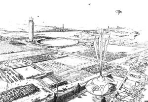 Broadacre City, perspectiva artística [dasun2.epfl.ch/thu/Wright.pdf]