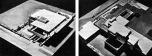 Broadacre City, modelo de residência para dois automóveis e modelo de residência para três automóveis [membres.lycos.fr/boscha/desurbanisme/broadacre.html]