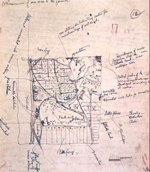 Desenho original de Frank Lloyd Wright para Broadacre City [architettura.supereva.com/files/20060115/04_c.jpg]
