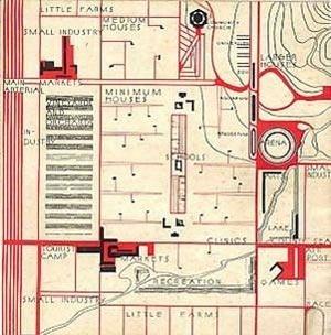 Detalhe de planta setorizada de Broadacre City [www.steinerag.com/flw/Book%20Images/Taliesin_1_Broadacre_B1.jpg]