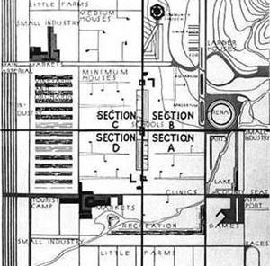 Detalhe de planta setorizada de Broadacre City [www.christianmarx.online.de/images/wright.jpg]