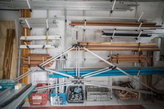 Testes de montagem do Sistema Ó no Galpão Goma Oficina <br />Foto Lauro Rocha