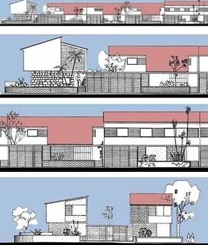 Figura 3. Reconstituição de diferentes trechos de fachadas do conjunto a partir dos desenhos originais
