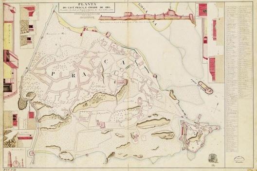 Planta do Cast.º, Praça e Cidade de Dio, planta (1833) de José Aniceto da Silva [Gabinete de Estudos Arqueológicos de Engenharia Militar]