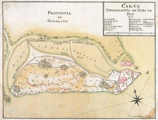 Carta Tipografica da Ilha de Diu, carta (1788-1790) de João Gabriel de Chermont  [Biblioteca Pública Municipal do Porto]