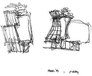 Croqui de Frank Gehry. The Neederlanden Building, Praga