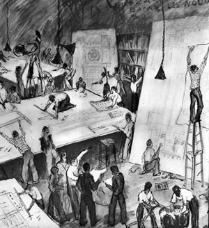Caricatura do ateliê de desenho arquitetônico, ENBA