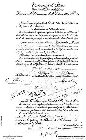 Título de Ernesto Estrada do Instituto Superior de Urbanismo de Paris, 1935 (Coleção família Estrada)