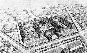 Perspectiva, Hôpital de Ménilmontant (posteriorment Hôpital St. Louis), 1833-1882, Paris (de Etienne Billon). Fonte : FERMAND, C., Les hôpitaux et les cliniques. Paris: Le Moniteur, 1999, p 24