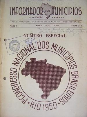 Frontispício do I Congresso Nacional de Municípios Brasileiros. Petrópolis, 1950 [Biblioteca Instituto Brasileiro de Administração Municipal]