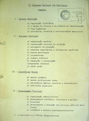 Temário do II Congresso Nacional de Municípios Brasileiros. São Vicente, 1952 [Biblioteca Instituto Brasileiro de Administração Municipal]