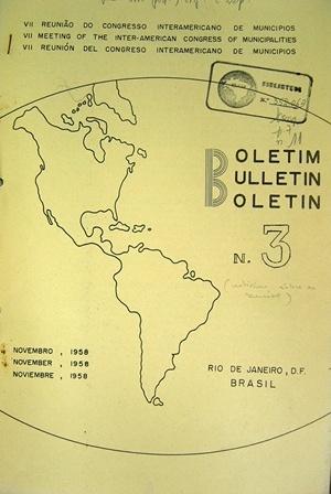 Frontispício do Boletim Informativo da VII Reunión del Congresso Interamericano de Municipios. Rio de Janeiro, 1958 [Biblioteca Instituto Brasileiro de Administração Municipal]