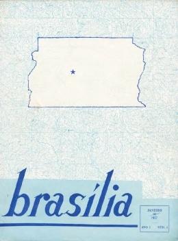 Capa do primeiro número da revista Brasília com a área do Distrito Federal, janeiro de 1957 [Acervo Fundação Oscar Niemeyer]