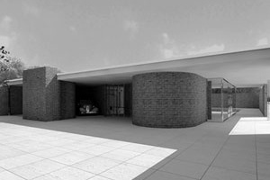 Vivienda con elementos curvos, Mies van der Rohe, década 193<br />Rendering Takehiko Nagakura / MIT