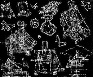 John Hejduk: desenhos para construção das máscaras. (Lancaster/Hannover Masque 1982-1983, La Mascara de la Medusa Buenos Aires 1998) [Fundación Proa. The Mask: Arquitectura experimental de John Hejduk, 1998. http://www.proa.]